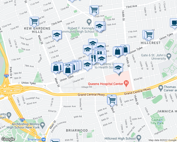 map of restaurants, bars, coffee shops, grocery stores, and more near 150-0-150-10 Union Turnpike in Queens