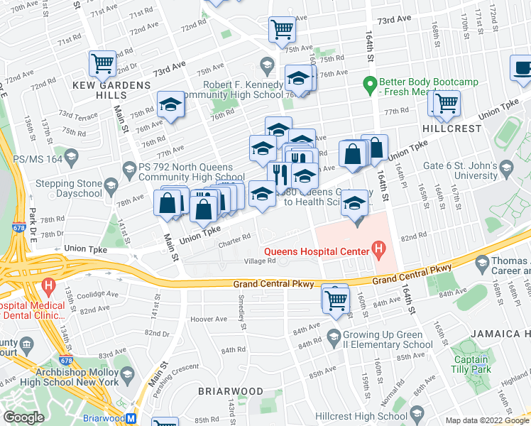 map of restaurants, bars, coffee shops, grocery stores, and more near 150-31 Union Turnpike in Queens