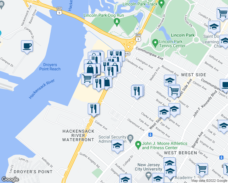 map of restaurants, bars, coffee shops, grocery stores, and more near 8 Bennett Street in Jersey City