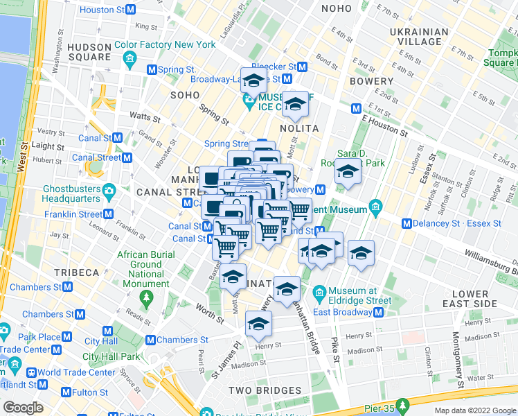 map of restaurants, bars, coffee shops, grocery stores, and more near Grand St & Mulberry St in New York