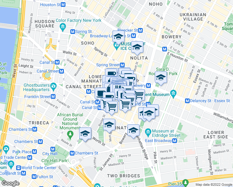 map of restaurants, bars, coffee shops, grocery stores, and more near 143 Baxter Street in New York