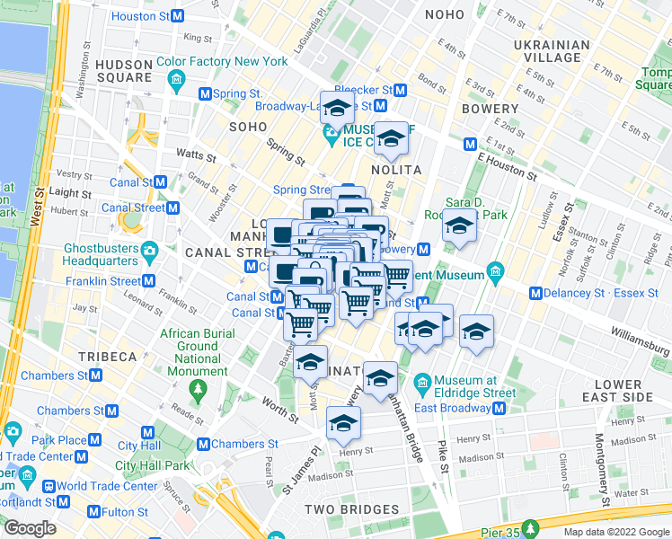 map of restaurants, bars, coffee shops, grocery stores, and more near 1 Centre Market Place in New York