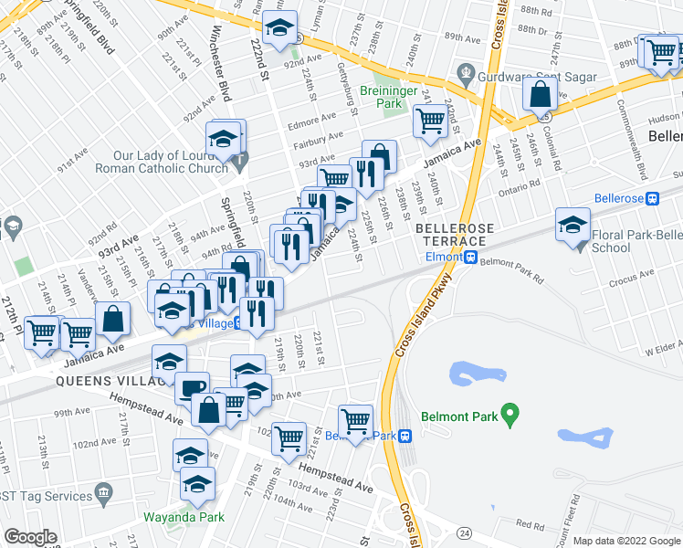 map of restaurants, bars, coffee shops, grocery stores, and more near 96th Avenue in Queens