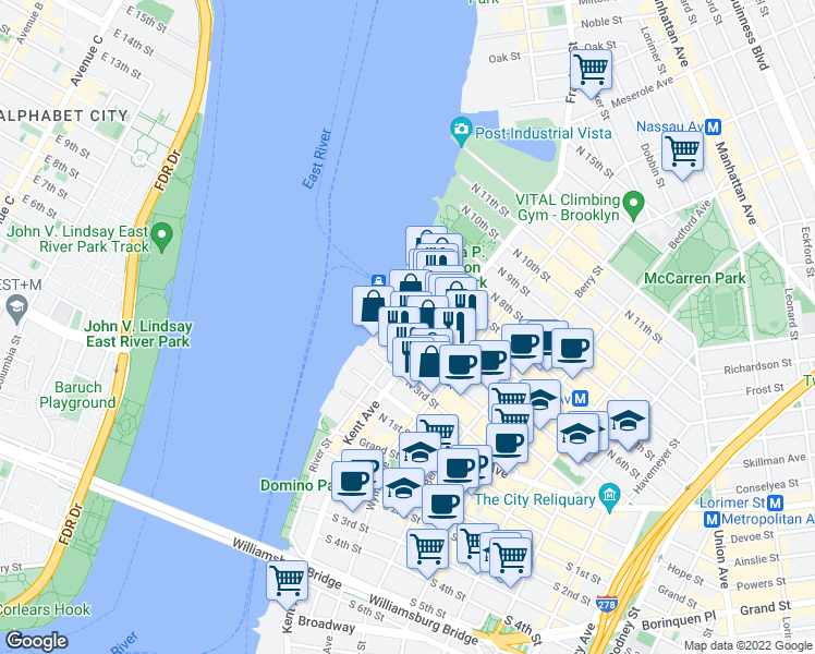 map of restaurants, bars, coffee shops, grocery stores, and more near 2 Northside Piers in Brooklyn