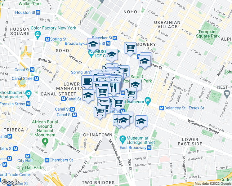 map of restaurants, bars, coffee shops, grocery stores, and more near 154 Elizabeth Street in New York