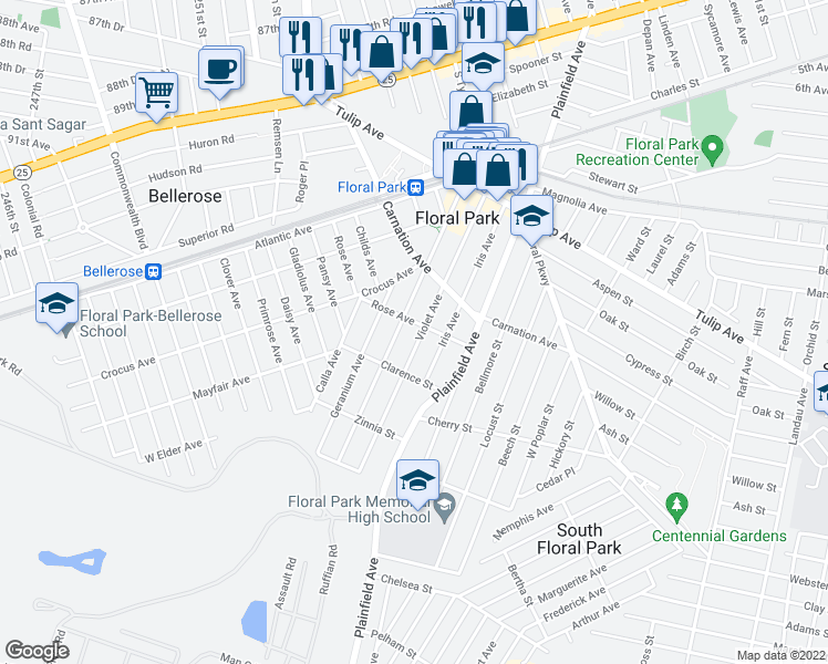 map of restaurants, bars, coffee shops, grocery stores, and more near 122 Violet Avenue in Floral Park