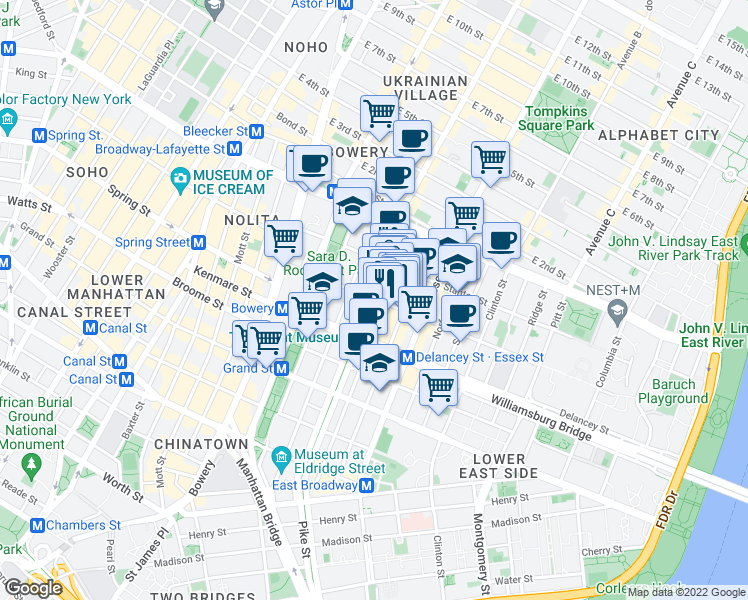 map of restaurants, bars, coffee shops, grocery stores, and more near 144-146 Orchard Street in New York