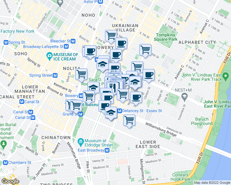 map of restaurants, bars, coffee shops, grocery stores, and more near 139-141 Orchard Street in New York