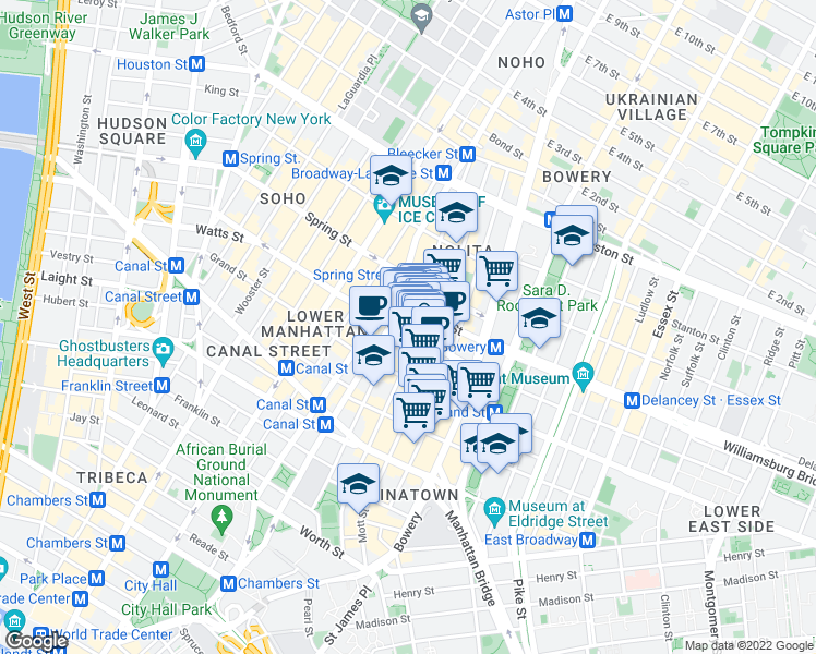 map of restaurants, bars, coffee shops, grocery stores, and more near 384 Broome Street in New York