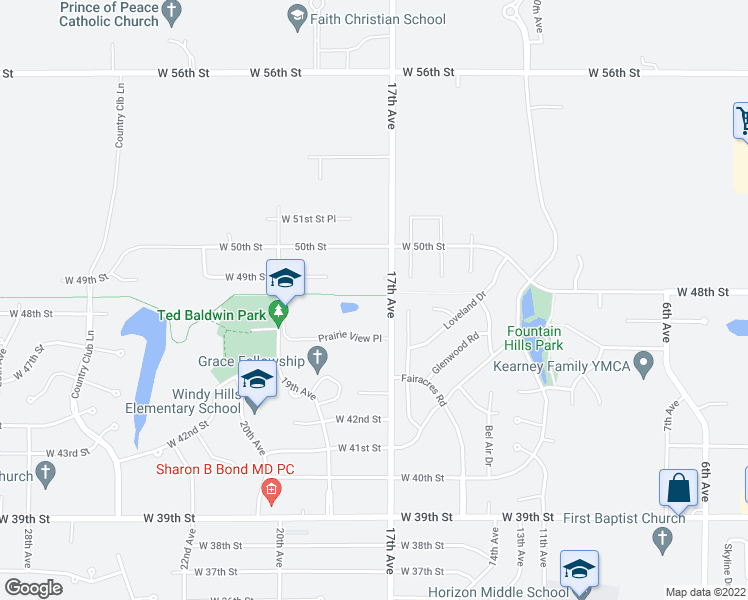 map of restaurants, bars, coffee shops, grocery stores, and more near 4696-4750 17th Avenue in Kearney