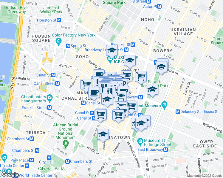 map of restaurants, bars, coffee shops, grocery stores, and more near 161 Grand Street in New York