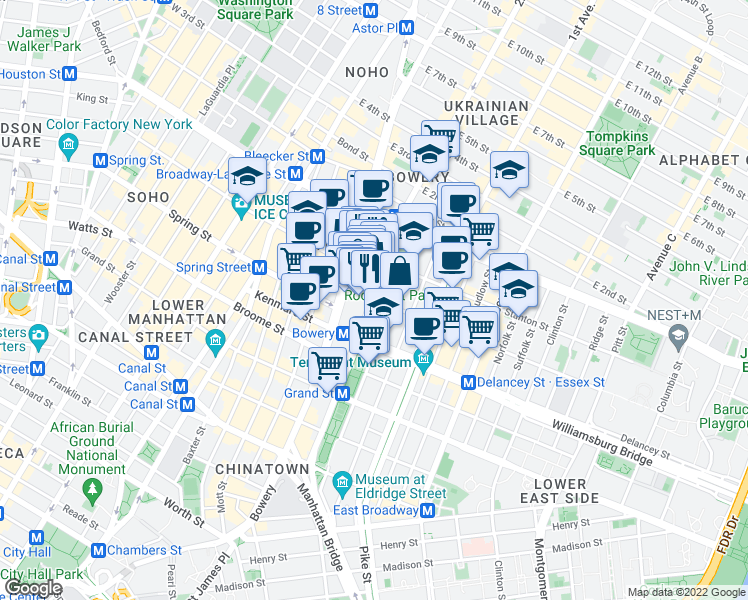 map of restaurants, bars, coffee shops, grocery stores, and more near Chrystie St & Rivington St in New York