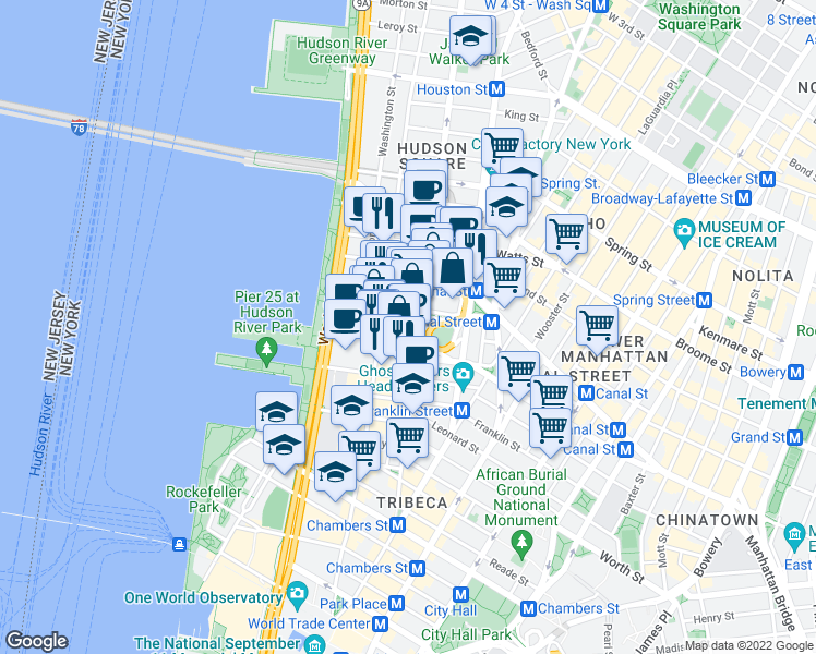 map of restaurants, bars, coffee shops, grocery stores, and more near 6 Hubert Street in New York