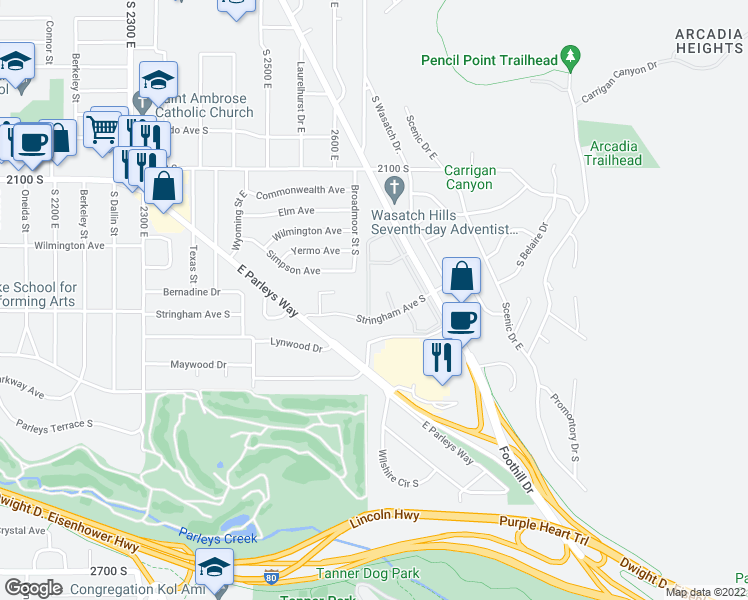 map of restaurants, bars, coffee shops, grocery stores, and more near 2260 Foothill Drive in Salt Lake City