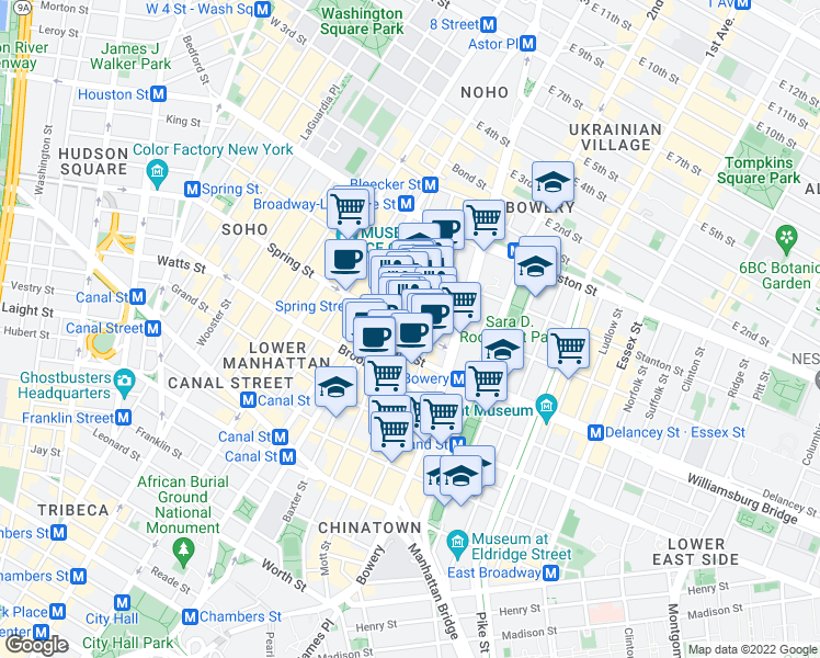 map of restaurants, bars, coffee shops, grocery stores, and more near Spring St & Mott St in New York
