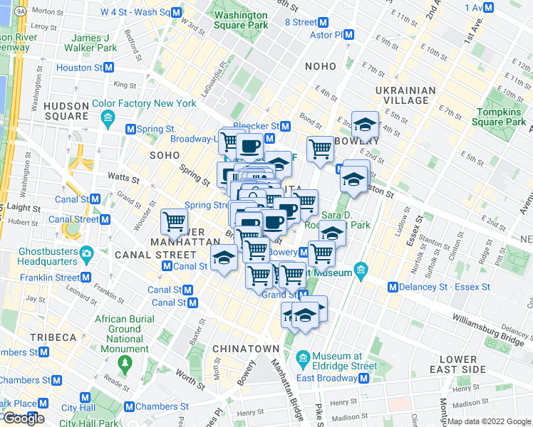 map of restaurants, bars, coffee shops, grocery stores, and more near 50-52 Spring Street in New York