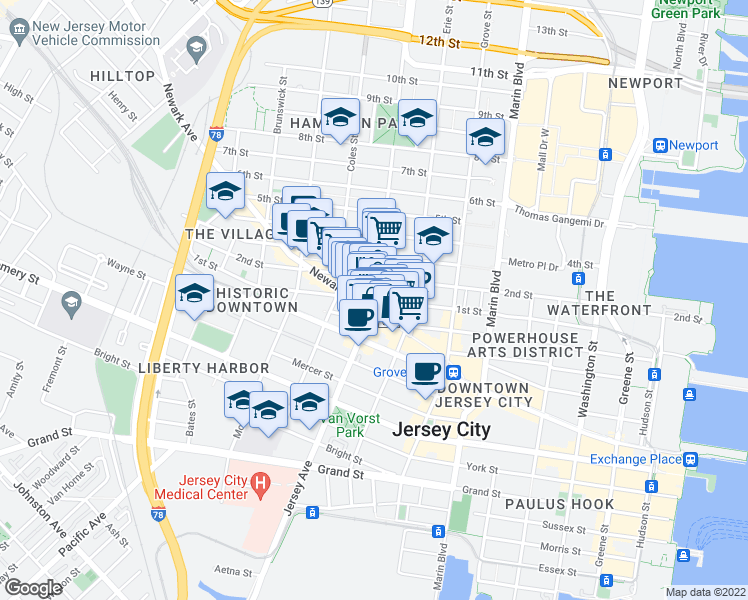 map of restaurants, bars, coffee shops, grocery stores, and more near Jersey Avenue & 1st Street in Jersey City