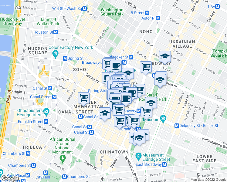 map of restaurants, bars, coffee shops, grocery stores, and more near 50 Spring Street in New York