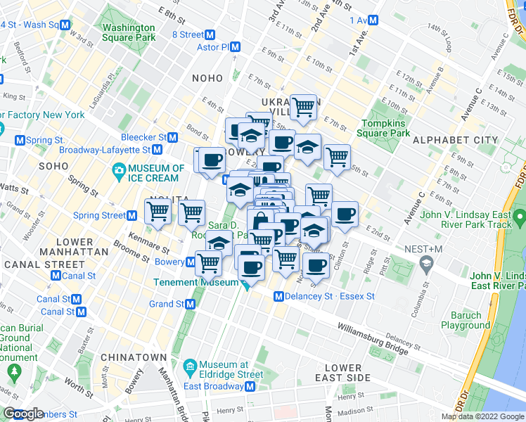 map of restaurants, bars, coffee shops, grocery stores, and more near 201 Allen Street in New York