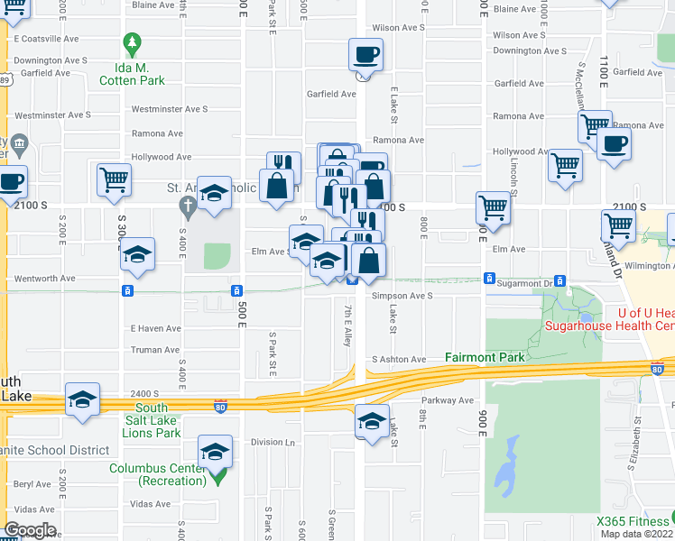 map of restaurants, bars, coffee shops, grocery stores, and more near 660 E Wilmington Avenue in Salt Lake City
