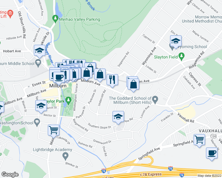 map of restaurants, bars, coffee shops, grocery stores, and more near 248 Millburn Avenue in Essex County