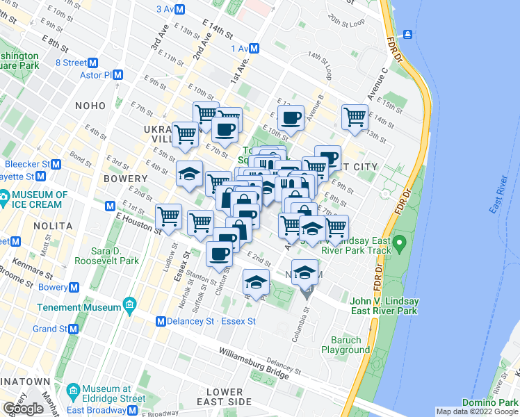 map of restaurants, bars, coffee shops, grocery stores, and more near 610 East 5th Street in New York