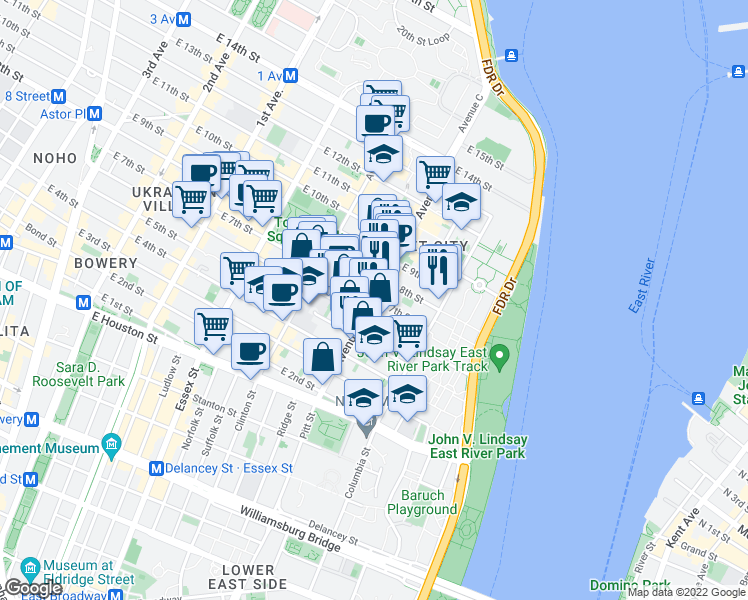 map of restaurants, bars, coffee shops, grocery stores, and more near Avenue C & East 7th Street in New York