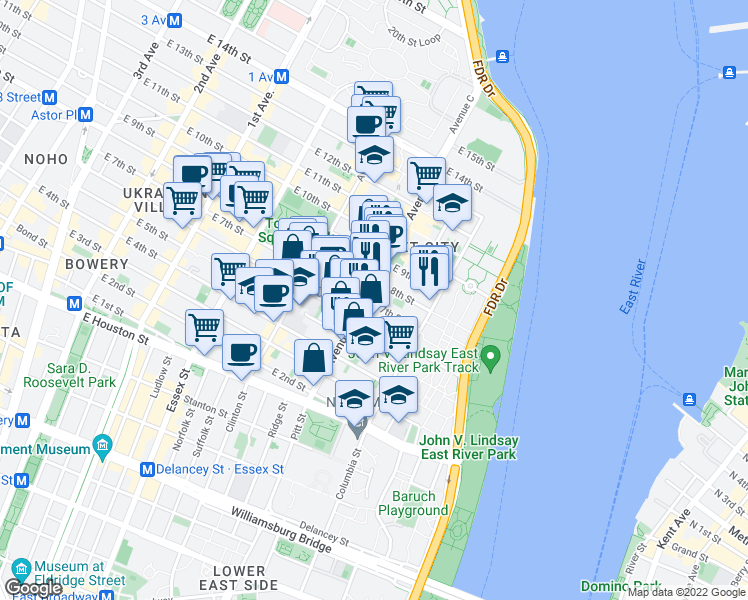 map of restaurants, bars, coffee shops, grocery stores, and more near 238 East 7th Street in New York