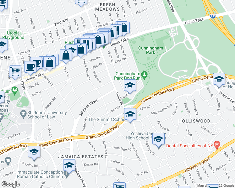 map of restaurants, bars, coffee shops, grocery stores, and more near 188th Street in Queens