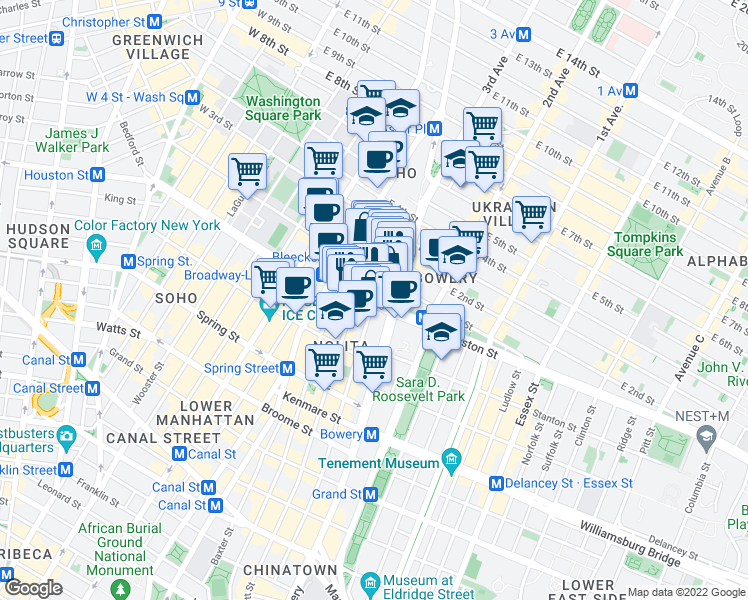 map of restaurants, bars, coffee shops, grocery stores, and more near 303 Elizabeth Street in New York