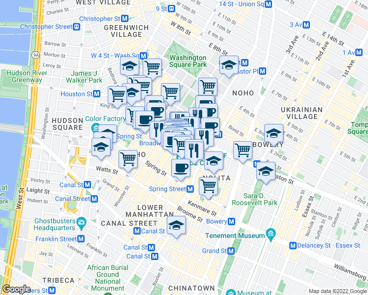 map of restaurants, bars, coffee shops, grocery stores, and more near 9 Great Jones Street in New York