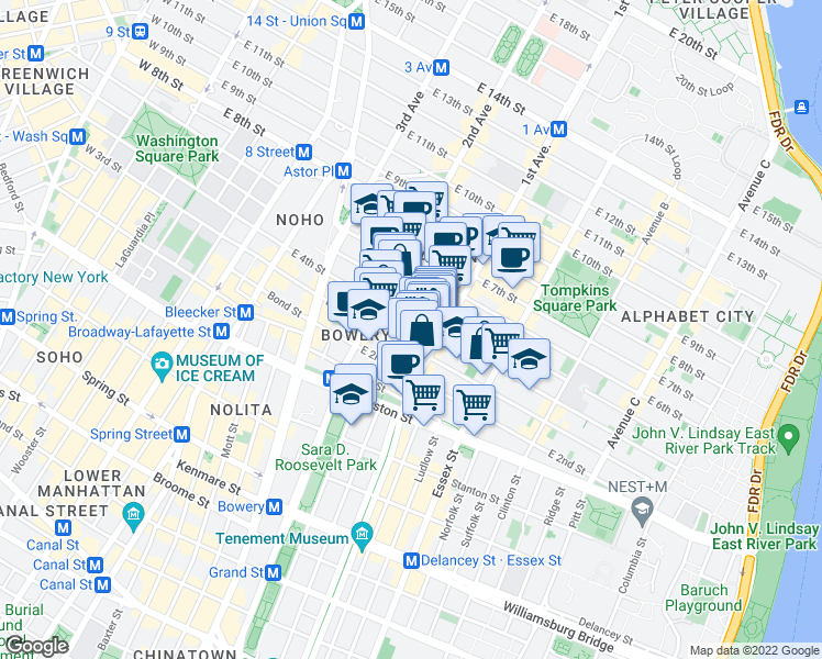 map of restaurants, bars, coffee shops, grocery stores, and more near 55 1st Avenue in New York