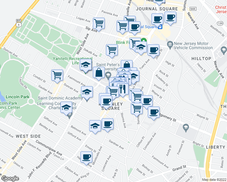 map of restaurants, bars, coffee shops, grocery stores, and more near 17A Glenwood Avenue in Jersey City