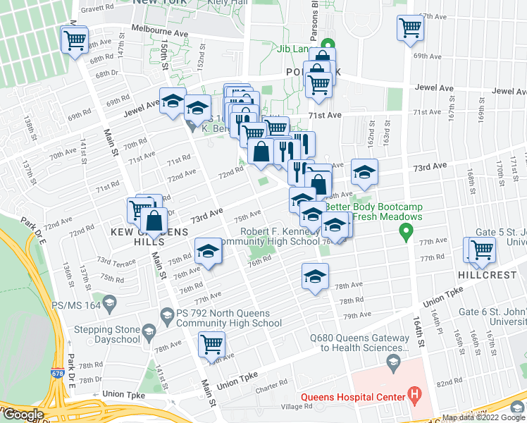 map of restaurants, bars, coffee shops, grocery stores, and more near 72-24 Kissena Boulevard in Queens