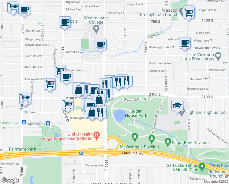 map of restaurants, bars, coffee shops, grocery stores, and more near 2070 View Street in Salt Lake City