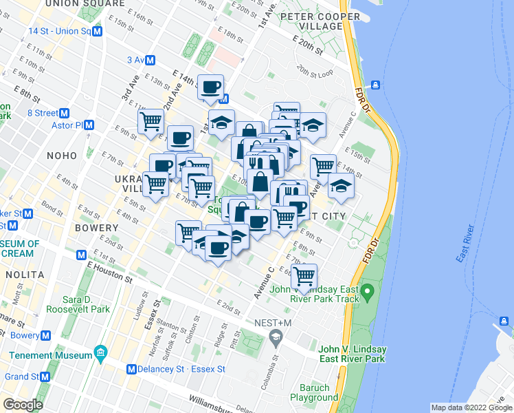 map of restaurants, bars, coffee shops, grocery stores, and more near East 9th Street in New York