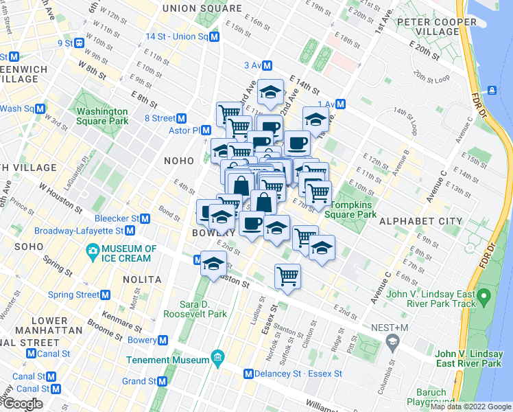 map of restaurants, bars, coffee shops, grocery stores, and more near 329 East 5th Street in New York