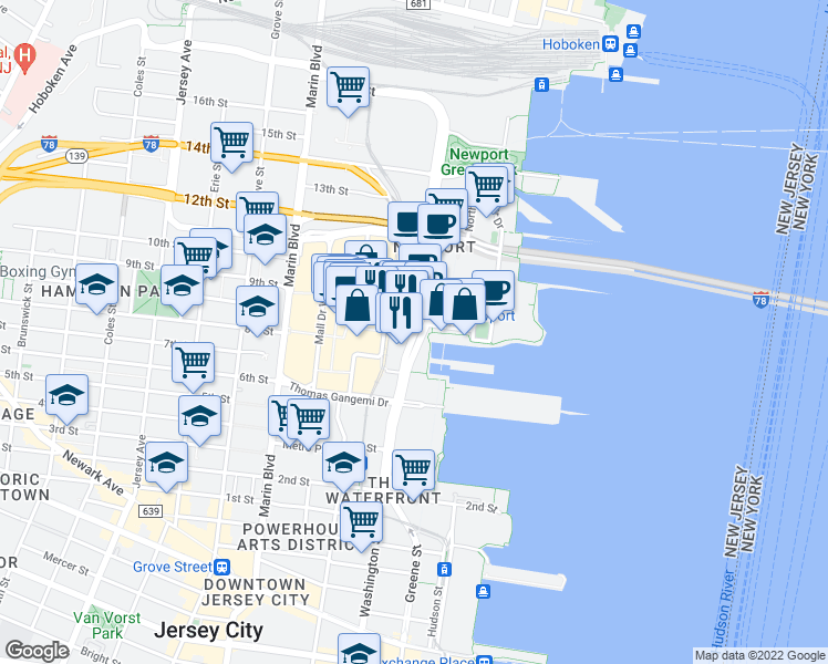 map of restaurants, bars, coffee shops, grocery stores, and more near Washington Boulevard in Jersey City