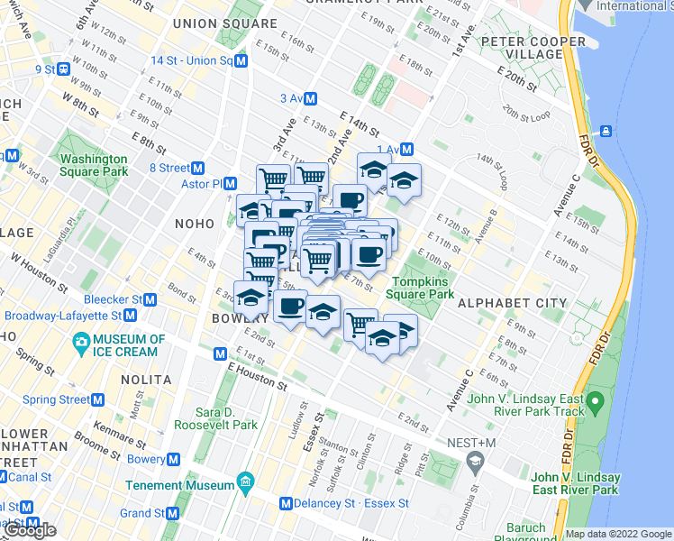 map of restaurants, bars, coffee shops, grocery stores, and more near 1st Ave & E 7th St in New York