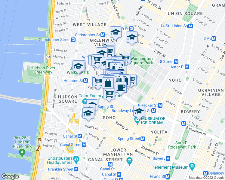 map of restaurants, bars, coffee shops, grocery stores, and more near 169 Sullivan Street in New York