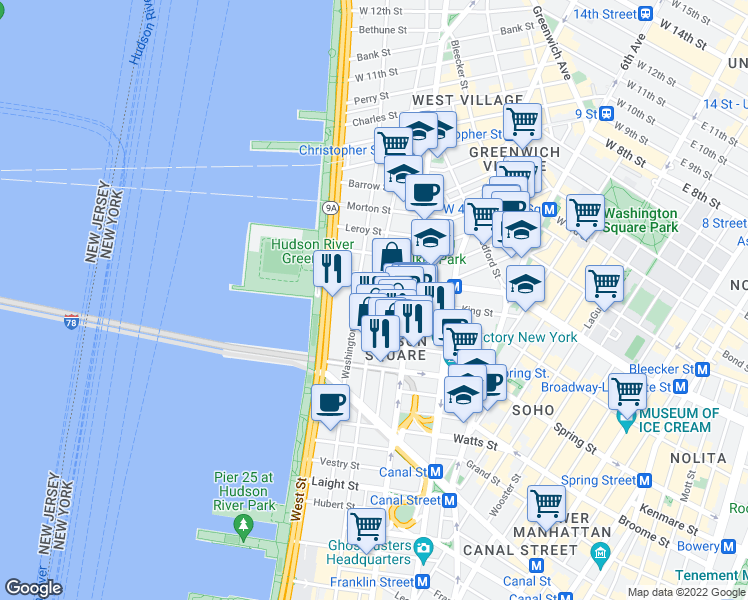 map of restaurants, bars, coffee shops, grocery stores, and more near 120 King Street in New York