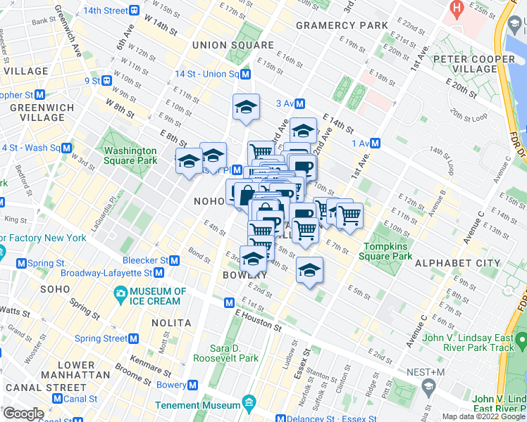 map of restaurants, bars, coffee shops, grocery stores, and more near 40 East 7th Street in New York