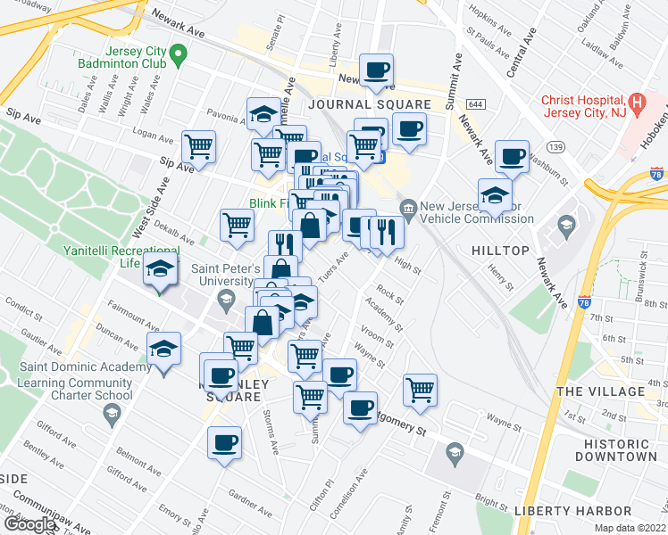 map of restaurants, bars, coffee shops, grocery stores, and more near Academy St & Tuers Ave in Jersey City