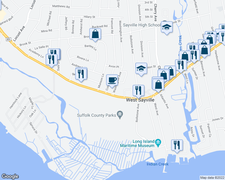 map of restaurants, bars, coffee shops, grocery stores, and more near 14 Washington Avenue in West Sayville