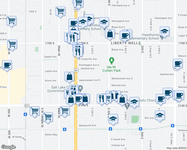 map of restaurants, bars, coffee shops, grocery stores, and more near 1877 South 200 East in Salt Lake City