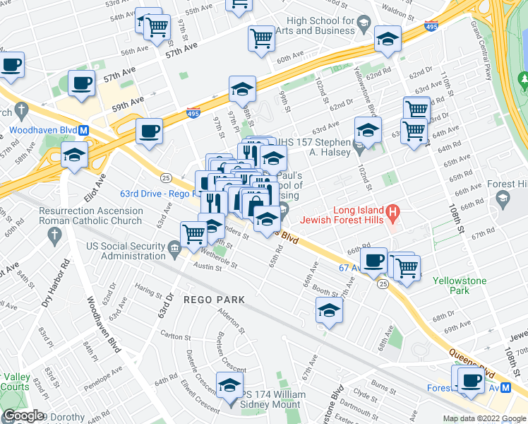 map of restaurants, bars, coffee shops, grocery stores, and more near Queens Boulevard in Queens