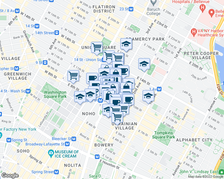 map of restaurants, bars, coffee shops, grocery stores, and more near 56 3rd Avenue in New York