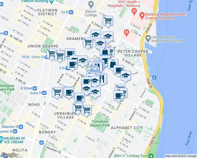 map of restaurants, bars, coffee shops, grocery stores, and more near 270 1st Avenue in New York
