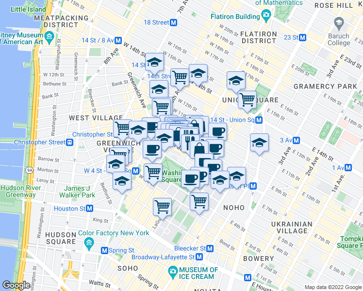 map of restaurants, bars, coffee shops, grocery stores, and more near 10 5th Avenue in New York