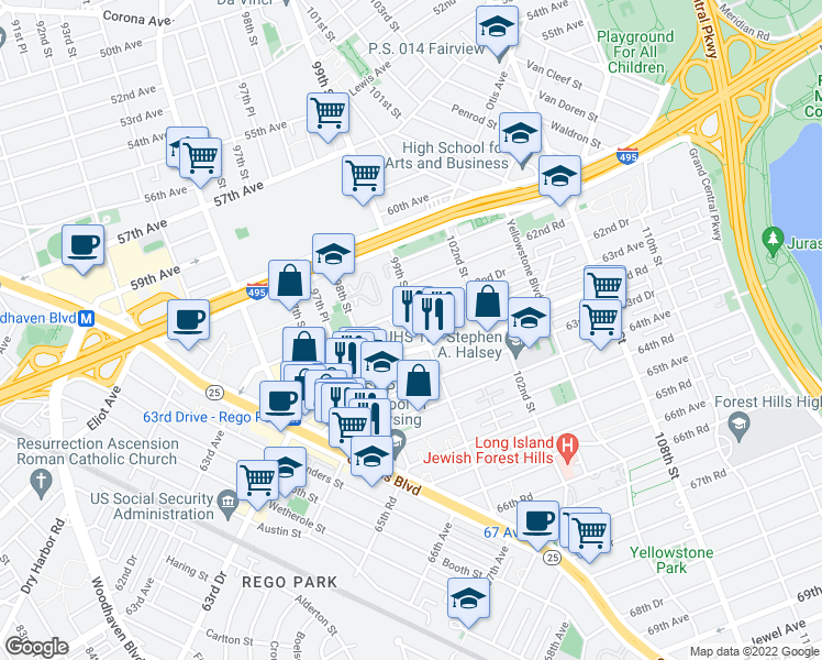 map of restaurants, bars, coffee shops, grocery stores, and more near 62-60 99th Street in Queens